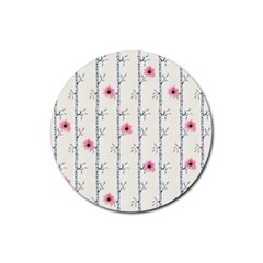 Minimalist Floral Rubber Coaster (round)  by augustinet