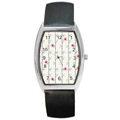 Minimalist Floral Barrel Style Metal Watch