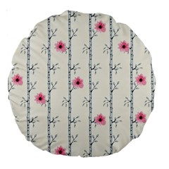 Minimalist Floral Large 18  Premium Round Cushions by augustinet
