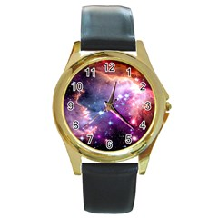 Deep Space Dream Round Gold Metal Watch by augustinet
