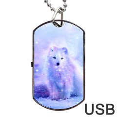 Arctic Iceland Fox Dog Tag Usb Flash (one Side) by augustinet