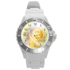 Beautiful Yellow Rose Round Plastic Sport Watch (l) by FantasyWorld7