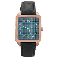 Teal Plaid Rose Gold Leather Watch  by snowwhitegirl