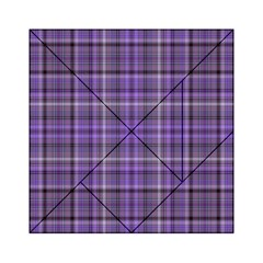 Purple  Plaid Acrylic Tangram Puzzle (6  X 6 ) by snowwhitegirl