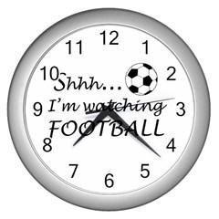Football Fan  Wall Clocks (silver)  by Valentinaart