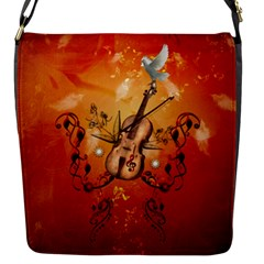 Violin With Violin Bow And Dove Flap Messenger Bag (s) by FantasyWorld7