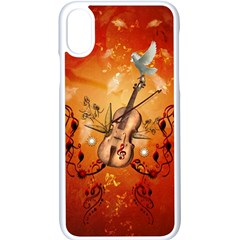 Violin With Violin Bow And Dove Apple Iphone X Seamless Case (white) by FantasyWorld7