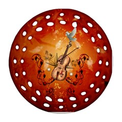 Violin With Violin Bow And Dove Ornament (round Filigree) by FantasyWorld7