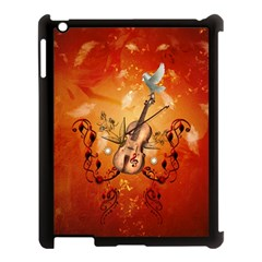 Violin With Violin Bow And Dove Apple Ipad 3/4 Case (black) by FantasyWorld7