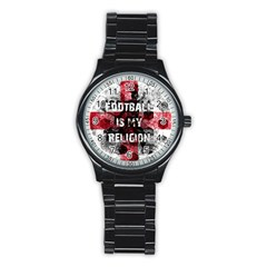 Football Is My Religion Stainless Steel Round Watch by Valentinaart