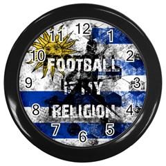 Football Is My Religion Wall Clocks (black) by Valentinaart