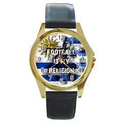 Football Is My Religion Round Gold Metal Watch by Valentinaart