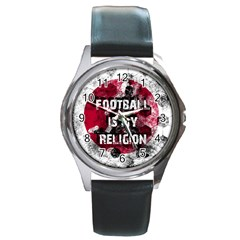 Football Is My Religion Round Metal Watch by Valentinaart