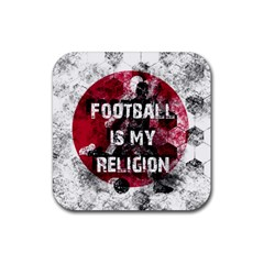 Football Is My Religion Rubber Square Coaster (4 Pack)  by Valentinaart
