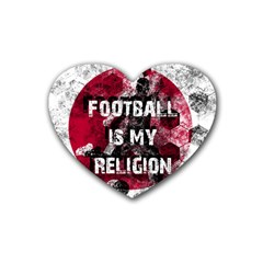 Football Is My Religion Heart Coaster (4 Pack)  by Valentinaart