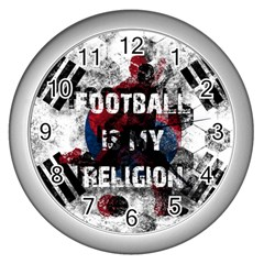Football Is My Religion Wall Clocks (silver)  by Valentinaart