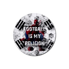 Football Is My Religion Rubber Coaster (round)  by Valentinaart