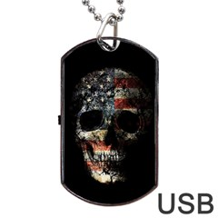 Skull Dog Tag Usb Flash (two Sides) by Valentinaart