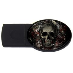 Skull Usb Flash Drive Oval (4 Gb) by Valentinaart