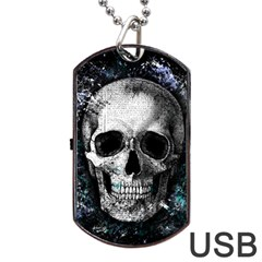 Skull Dog Tag Usb Flash (one Side) by Valentinaart