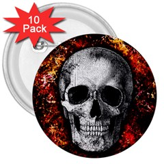 Skull 3  Buttons (10 Pack)  by Valentinaart