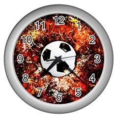 Football  Wall Clocks (silver)  by Valentinaart