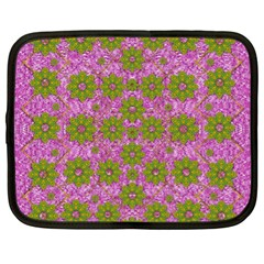 Paradise Flowers In Bohemic Floral Style Netbook Case (xl)  by pepitasart