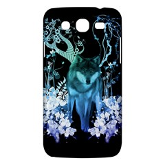 Amazing Wolf With Flowers, Blue Colors Samsung Galaxy Mega 5 8 I9152 Hardshell Case  by FantasyWorld7