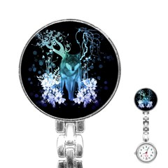 Amazing Wolf With Flowers, Blue Colors Stainless Steel Nurses Watch by FantasyWorld7