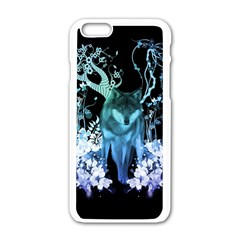 Amazing Wolf With Flowers, Blue Colors Apple Iphone 6/6s White Enamel Case by FantasyWorld7