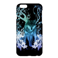 Amazing Wolf With Flowers, Blue Colors Apple Iphone 6 Plus/6s Plus Hardshell Case by FantasyWorld7
