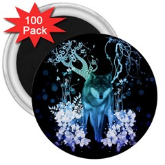 Amazing Wolf With Flowers, Blue Colors 3  Magnets (100 Pack) by FantasyWorld7