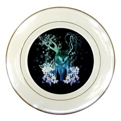 Amazing Wolf With Flowers, Blue Colors Porcelain Plates by FantasyWorld7
