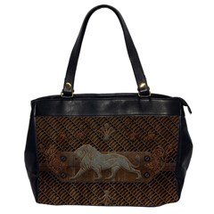 Wonderful Steampunk Lion With Floral Elements Office Handbags (2 Sides)  by FantasyWorld7