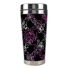 Dark Intersecting Lace Pattern Stainless Steel Travel Tumblers by dflcprints