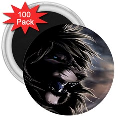 Angry Male Lion Digital Art 3  Magnets (100 Pack)