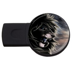 Angry Male Lion Digital Art Usb Flash Drive Round (2 Gb)