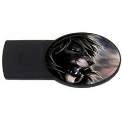 Angry Male Lion Digital Art Usb Flash Drive Oval (2 Gb)