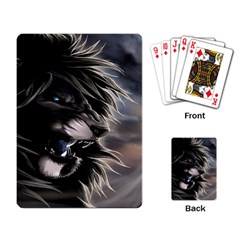 Angry Male Lion Digital Art Playing Card
