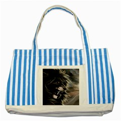 Angry Male Lion Digital Art Striped Blue Tote Bag