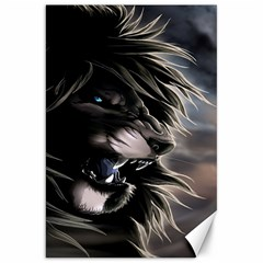 Angry Male Lion Digital Art Canvas 20  X 30   by Samandel