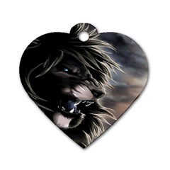 Angry Male Lion Digital Art Dog Tag Heart (two Sides)