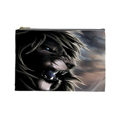Angry Male Lion Digital Art Cosmetic Bag (large)