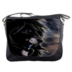 Angry Male Lion Digital Art Messenger Bags