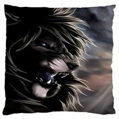 Angry Male Lion Digital Art Large Cushion Case (two Sides)