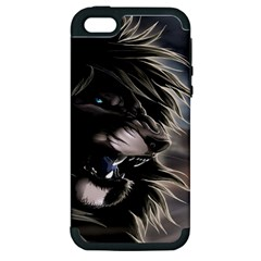 Angry Male Lion Digital Art Apple Iphone 5 Hardshell Case (pc+silicone)