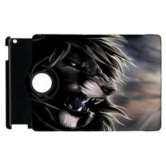 Angry Male Lion Digital Art Apple Ipad 2 Flip 360 Case