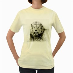 Lion Wildlife Art And Illustration Pencil Women s Yellow T Shirt