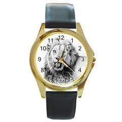 Lion Wildlife Art And Illustration Pencil Round Gold Metal Watch
