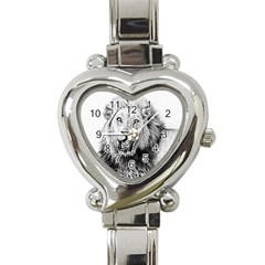 Lion Wildlife Art And Illustration Pencil Heart Italian Charm Watch